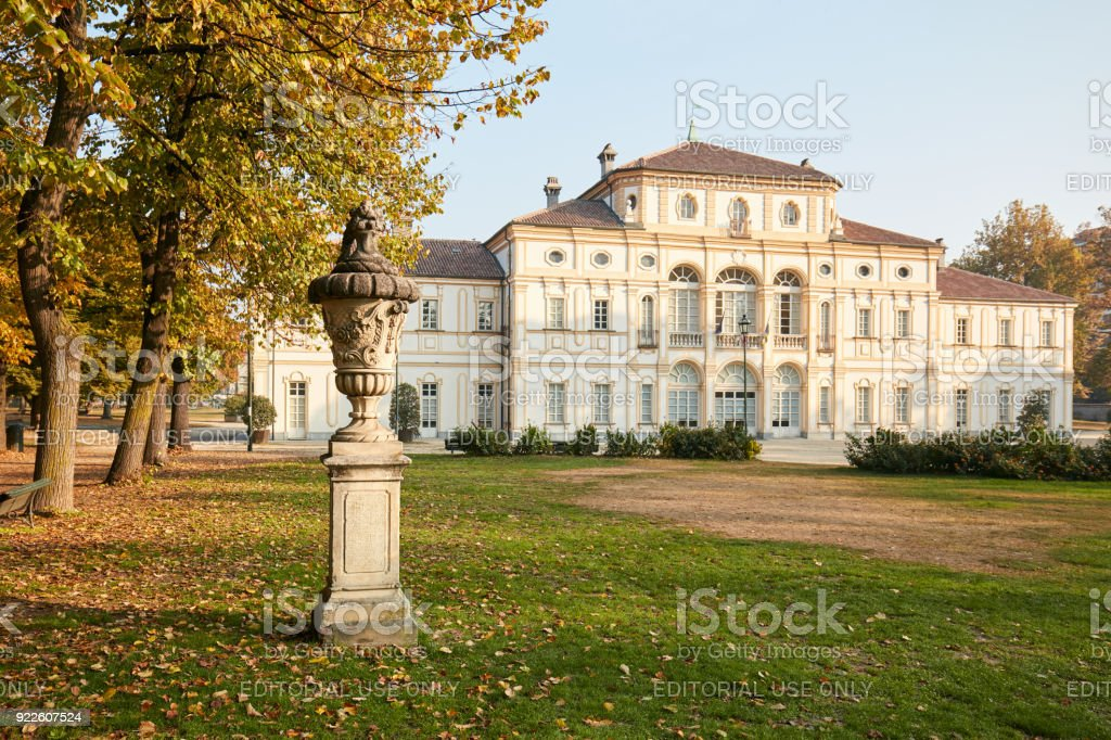 Baroque Tesoriera villa and vase sculpture in a sunny day in autumn in Turin. stock photo