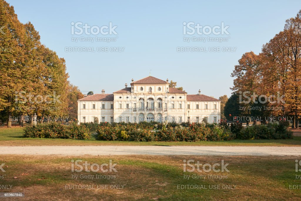 Baroque Tesoriera villa with bushes with flowers in a sunny day in autumn. stock photo