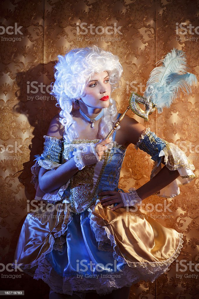 Baroque woman portrait with mask royalty-free stock photo