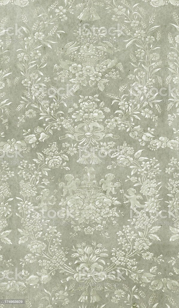 Baroque-Style Grey Wallpaper stock photo