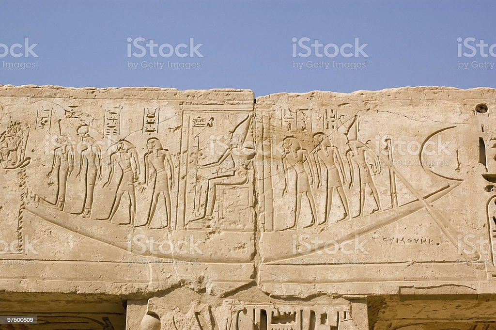 Barque boat carving, Ancient Egypt royalty-free stock photo