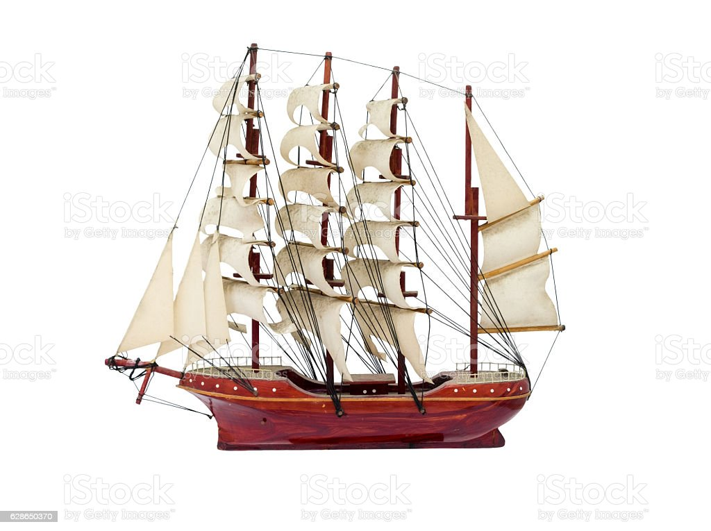 Barque ship gift craft model wooden stock photo