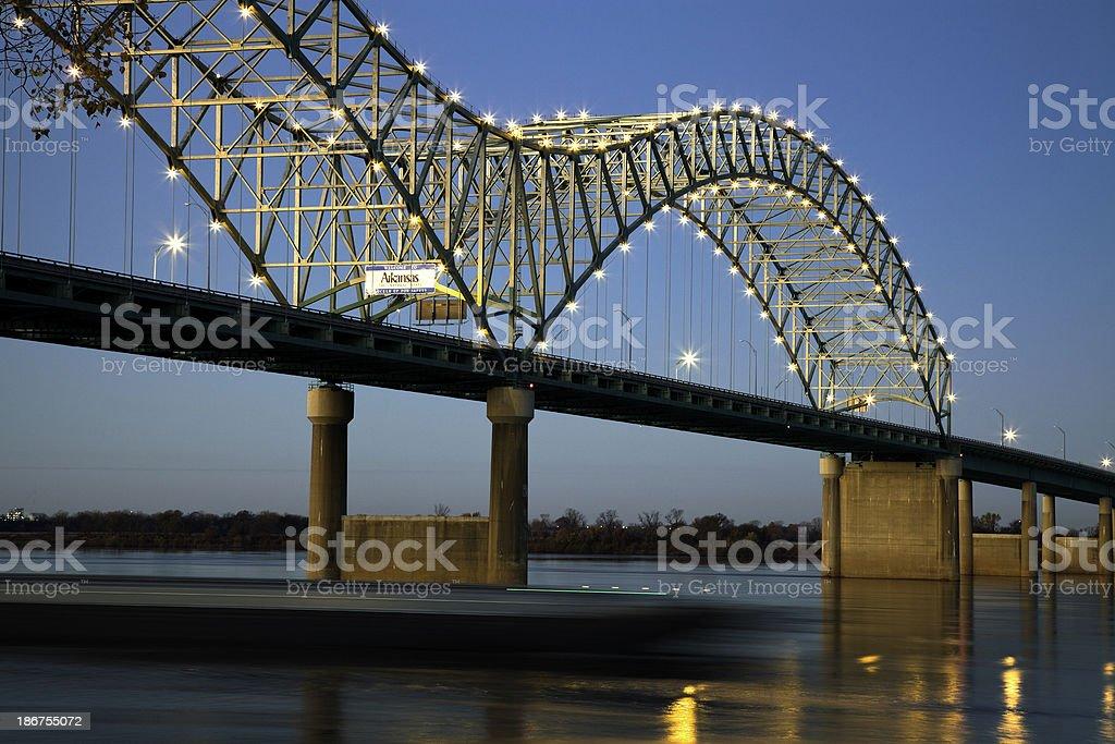 Barque under Hernando de Soto Bridge stock photo