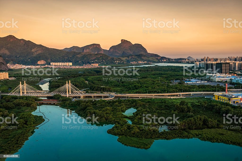 Barra da Tijuca aerial view at sunset, Rio de Janeiro stock photo