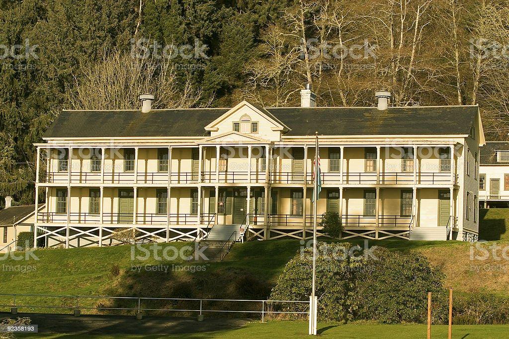 Barracks, Fort Columbia stock photo