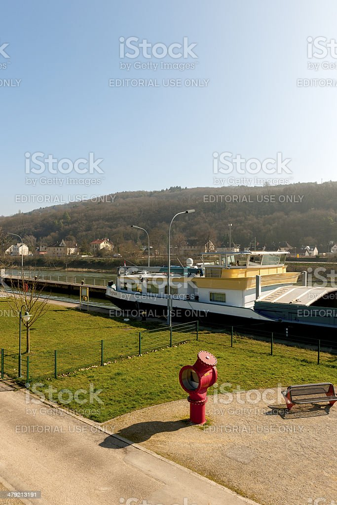 Barrage weir and canal lock Grevenmacher, Luxembourg royalty-free stock photo