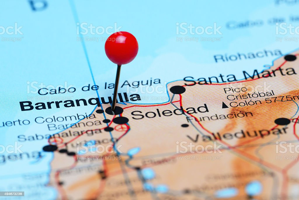 Barranquilla pinned en un mapa de América - foto de stock