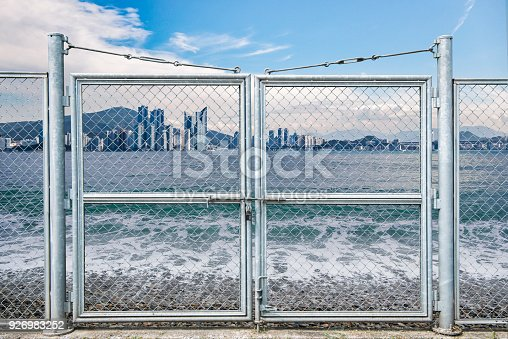 istock Barred areas blocked by barbed wire. 926983252