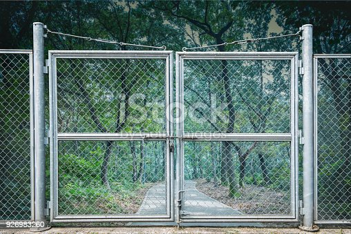 istock Barred areas blocked by barbed wire. 926983260