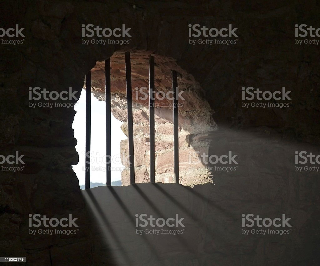 barred window at Wertheim Castle stock photo