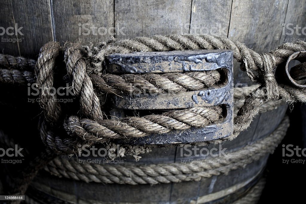 Barrel aboard an old ship royalty-free stock photo