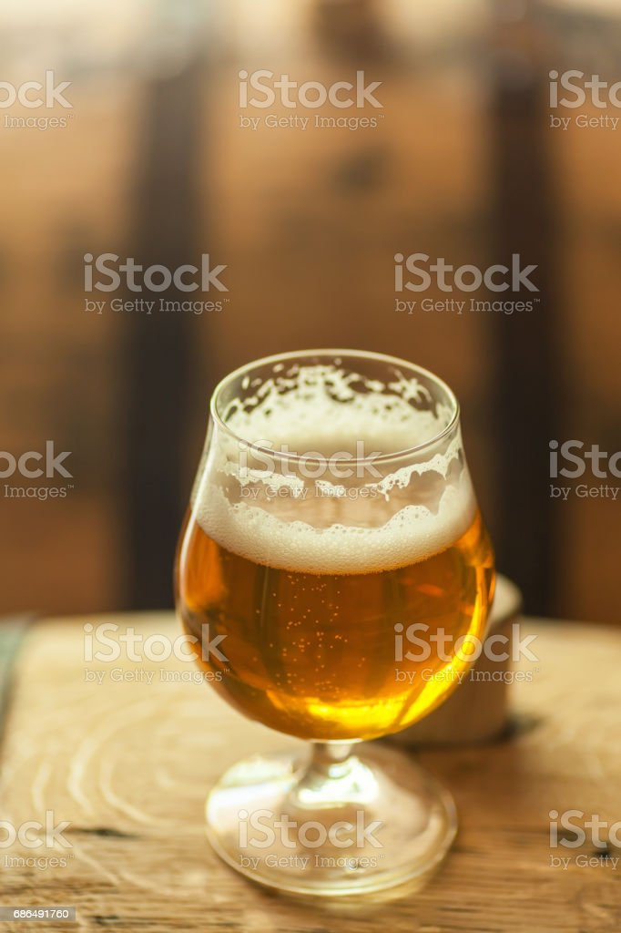 Barrel aged ale stock photo
