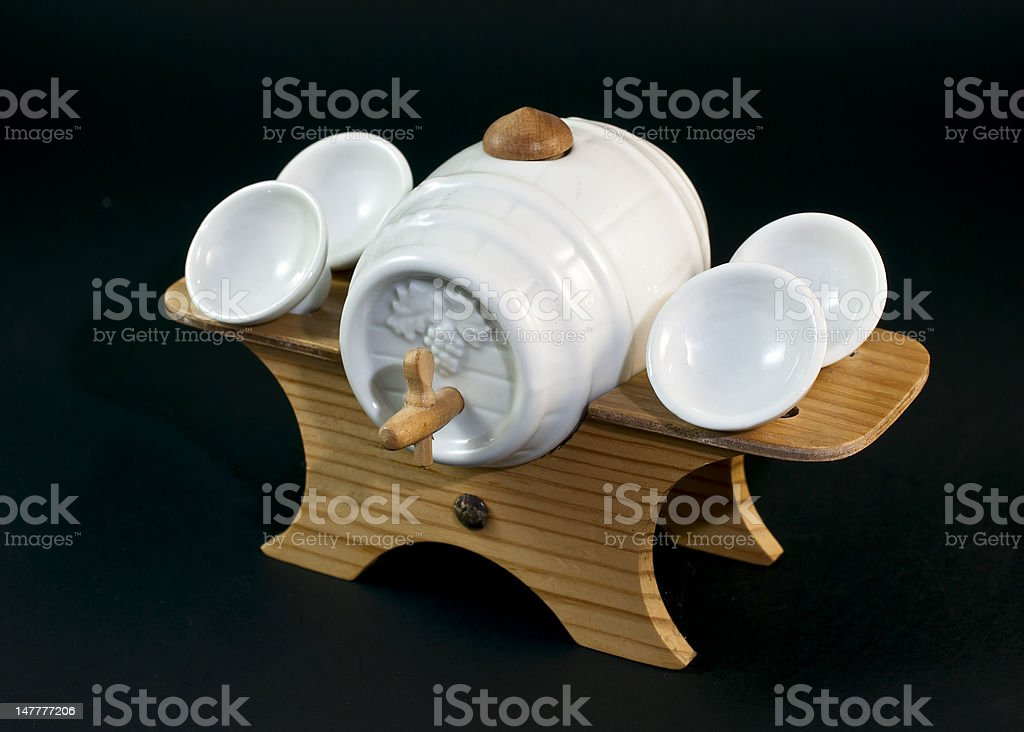 Barrel and cups royalty-free stock photo
