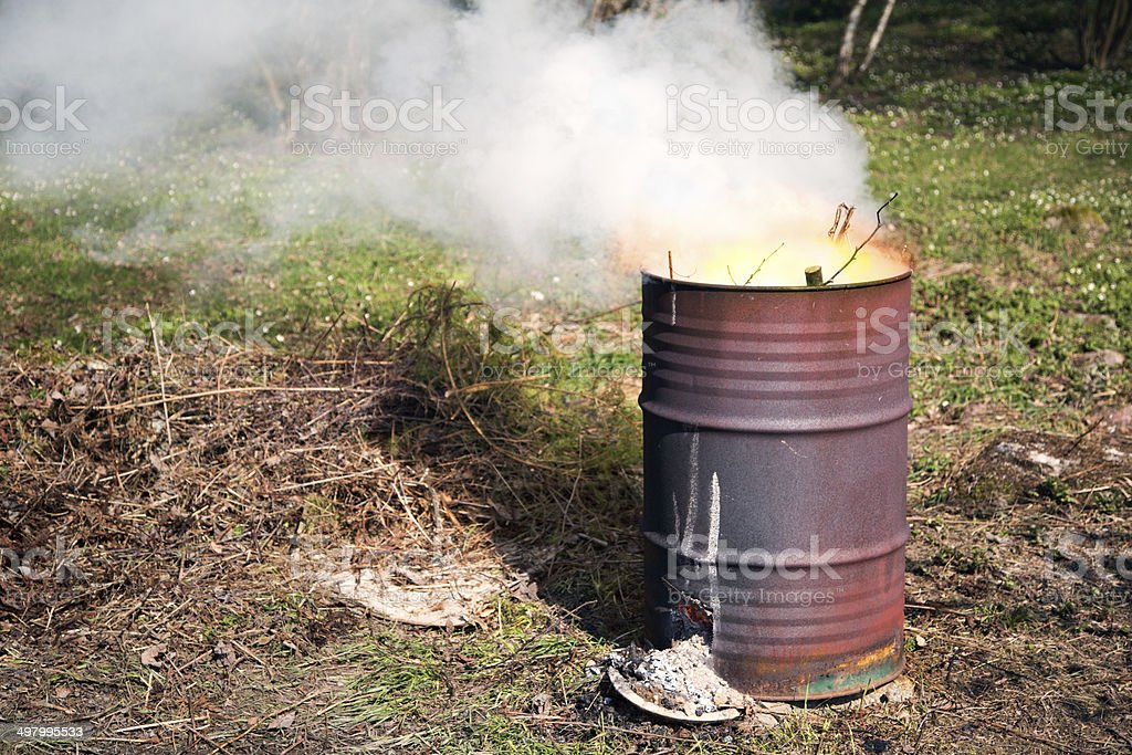 Barrel fire stock photo