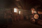 Barrel making workshop in old basement.