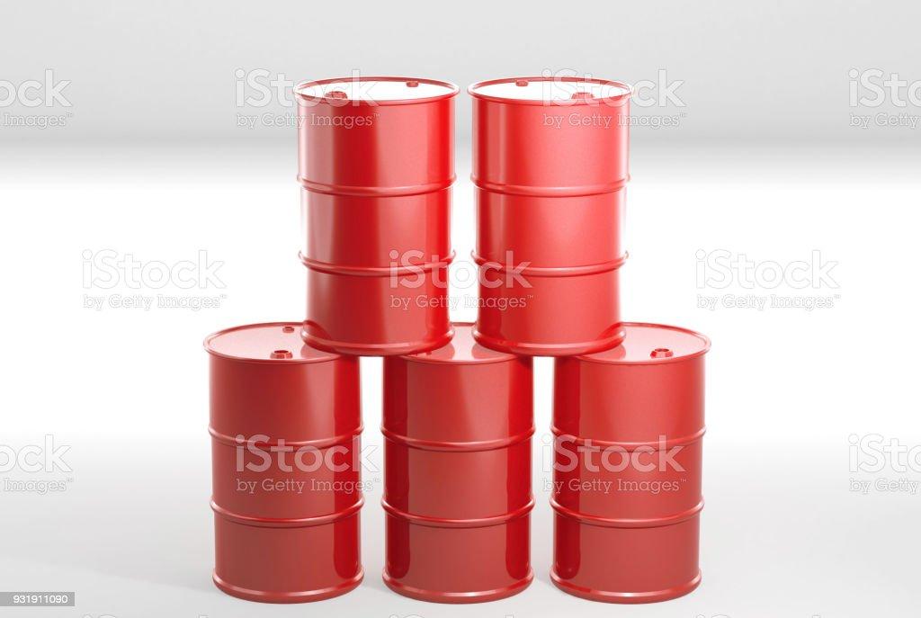Barrel metal tank on white. 3D rendering. stock photo