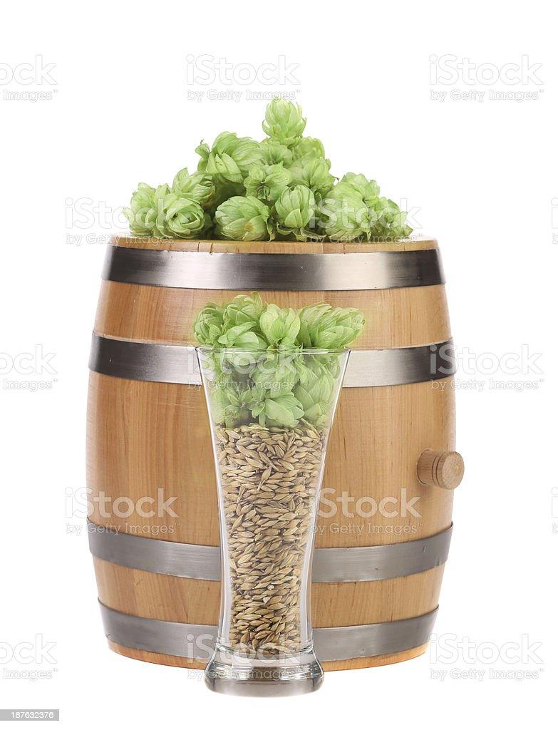 Barrel mug with barley hop. royalty-free stock photo