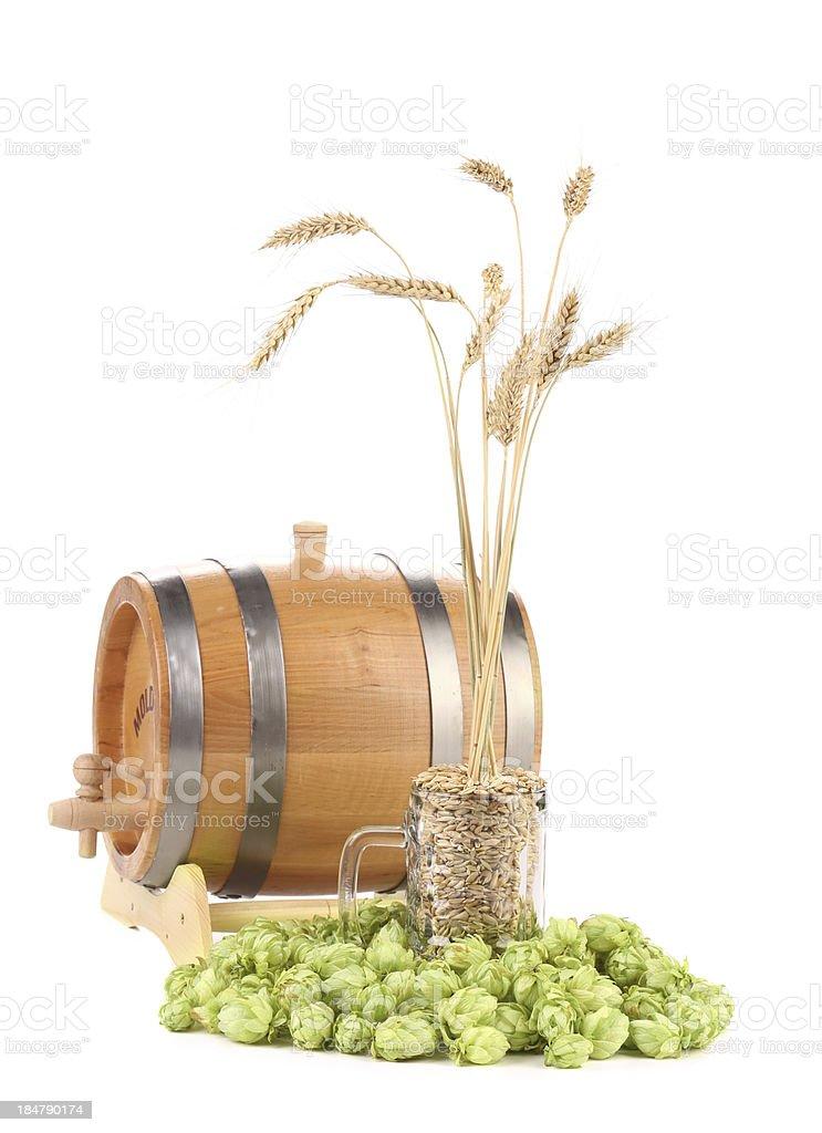 Barrel mug with hop and barley. royalty-free stock photo