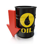 Barrel of oil and red arrow. reducing oil prices