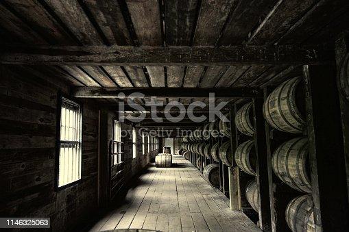 Antique perspective barrel wood room