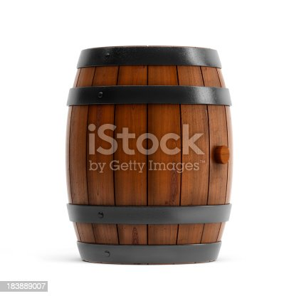 Digitally generated image of the wooden barrel with plug.Front view. Isolated on white.