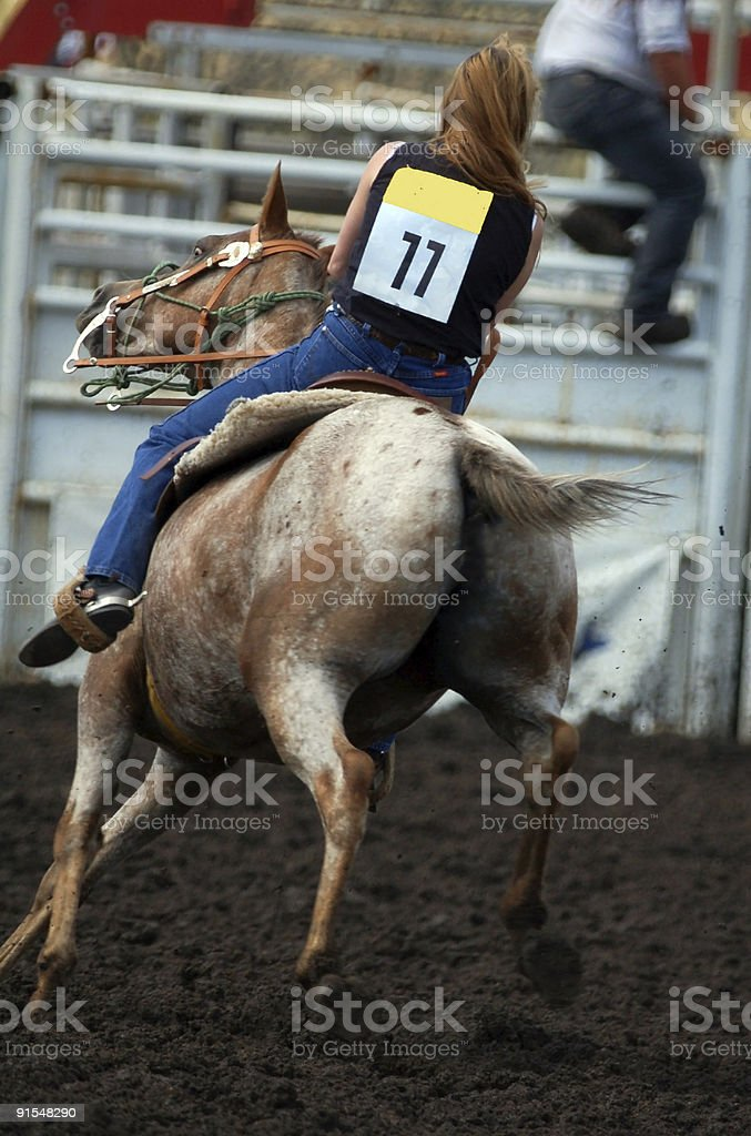 Barrel Racing in Rodeo royalty-free stock photo