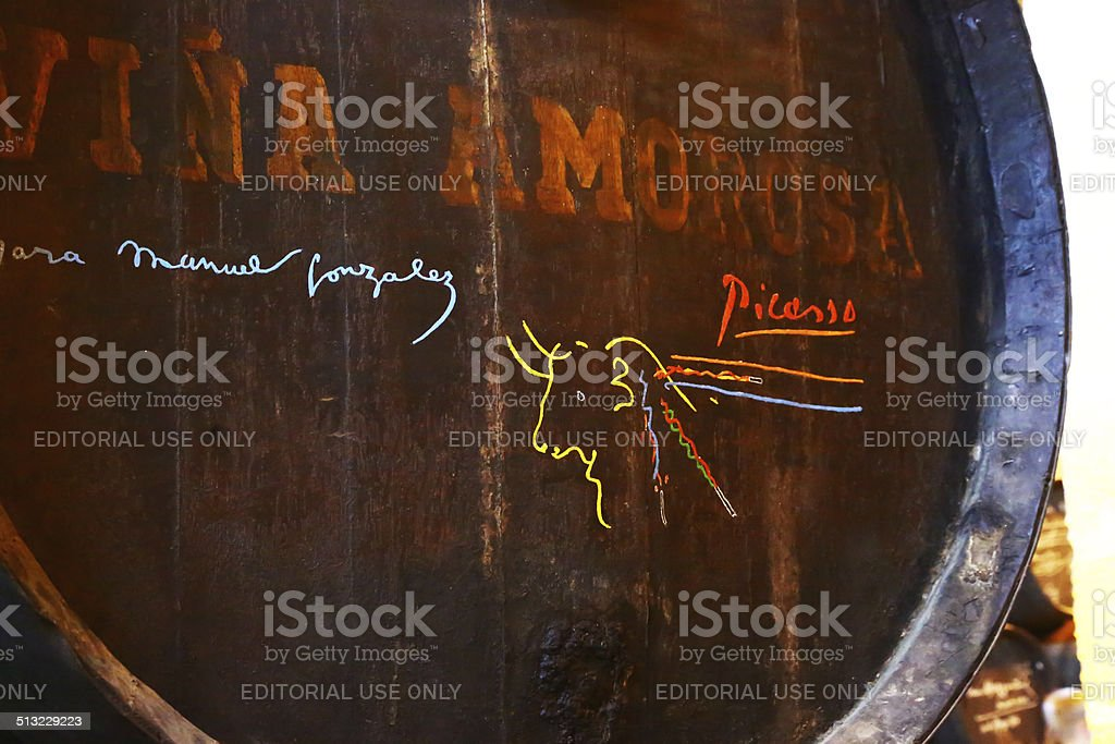 Barrel signed by Picasso in Tio Pepe winery stock photo