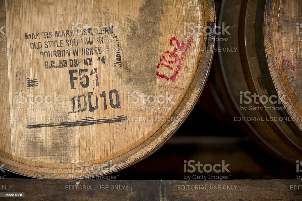 Barrel Tag for Maker's Mark Whiskey in Kentucky 2 stock photo