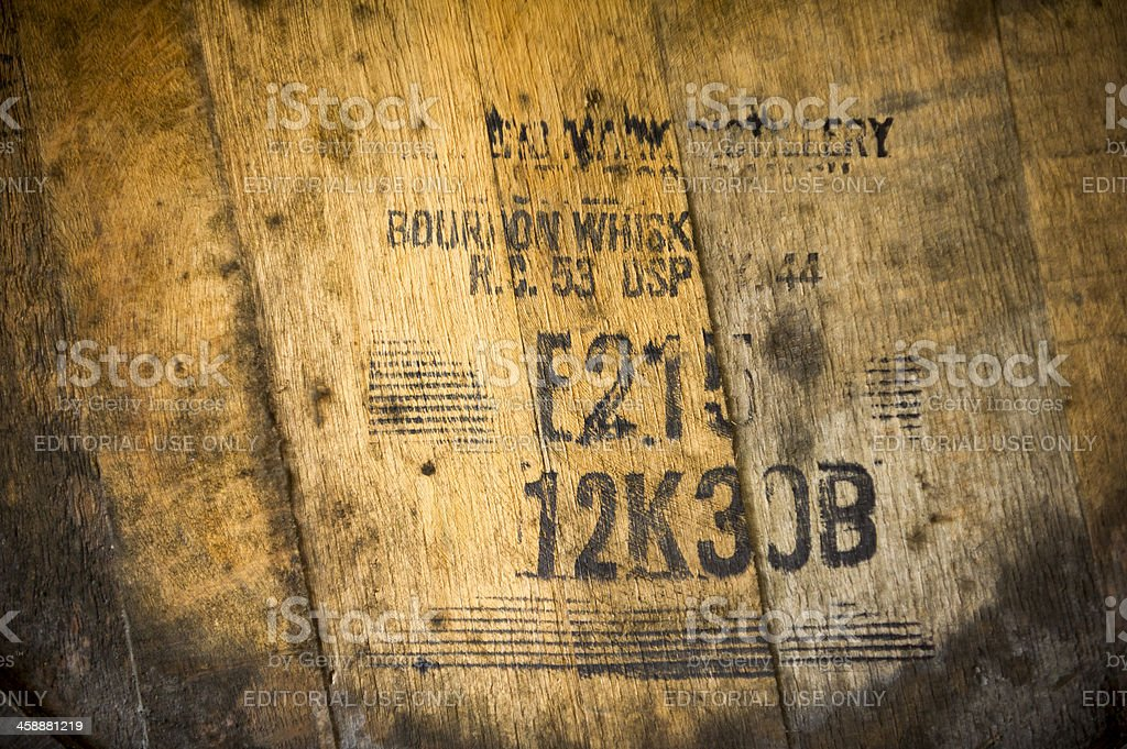 Barrel Tag for Maker's Mark Whiskey in Kentucky stock photo