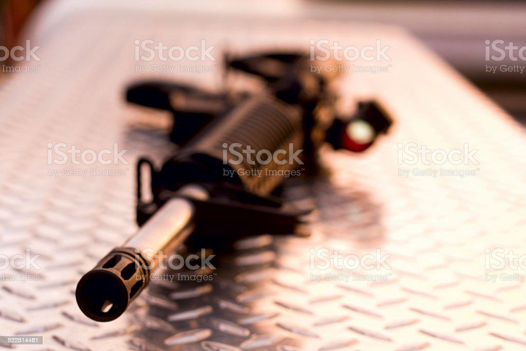AR-15 Barrel View on Diamondplate stock photo