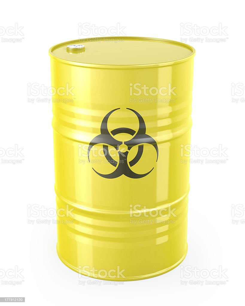 Barrel with biohazard symbol stock photo