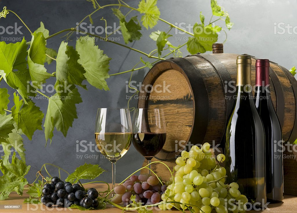 Barrel with grapes and Wine royalty-free stock photo