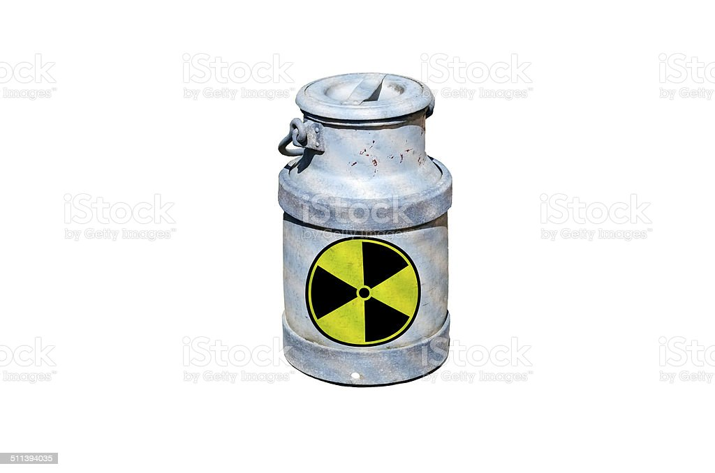 Barrel with nuclear waste barrel of radioactive waste stock photo