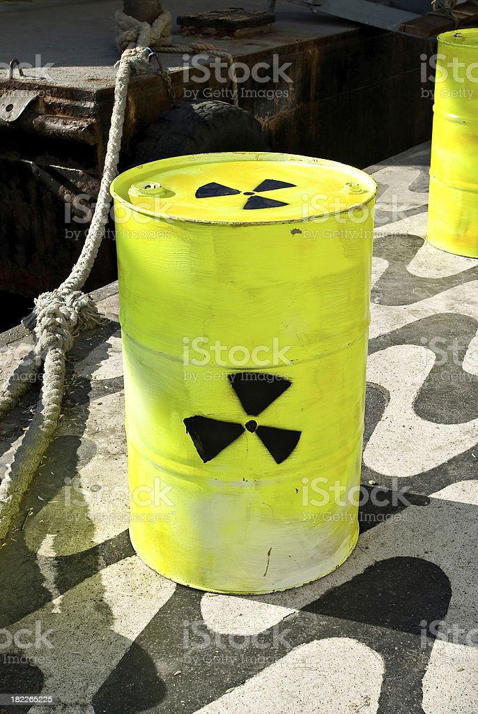 Barrel with radioactive symbol royalty-free stock photo