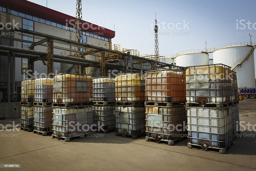 Barrels at a chemical plant. royalty-free stock photo