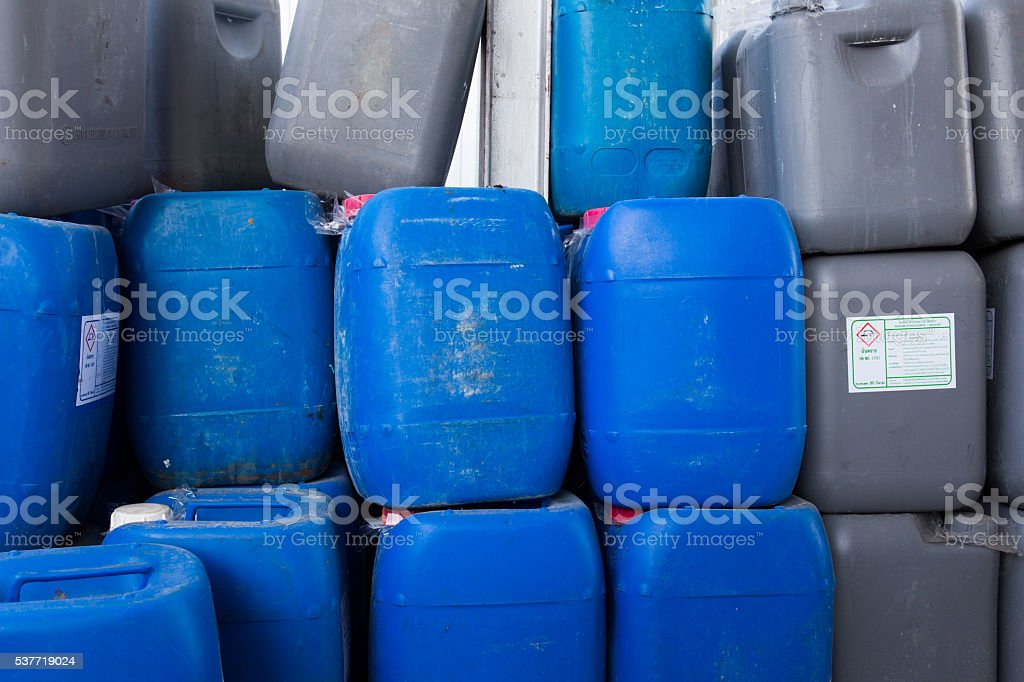 Barrels contain chemical in chemical storage