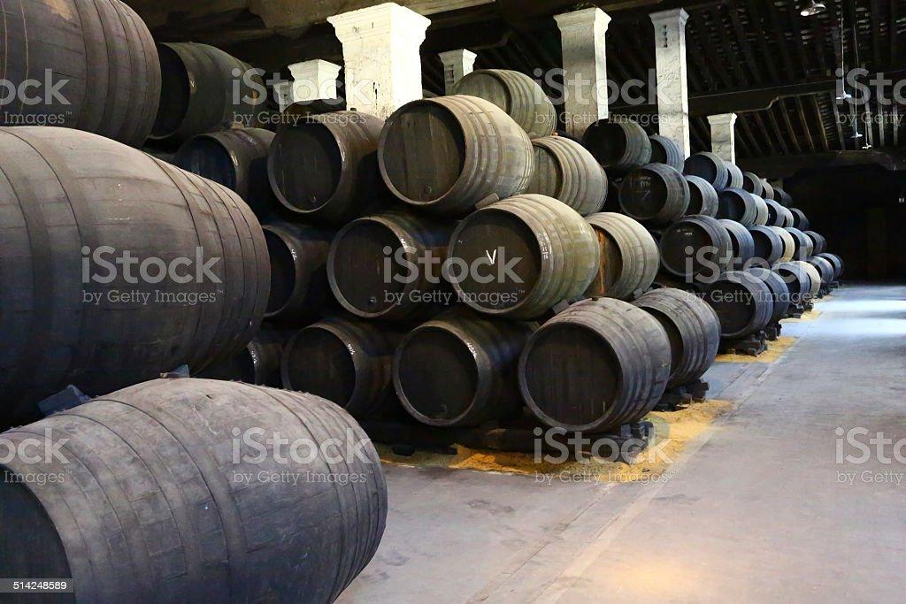 Barrels for aging in Jerez de le Frontera stock photo