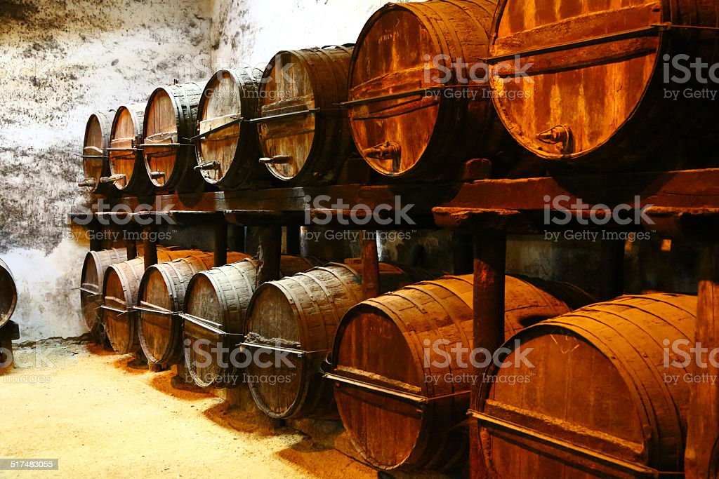 Barrels for aging wine, Jerez de la Frontera stock photo