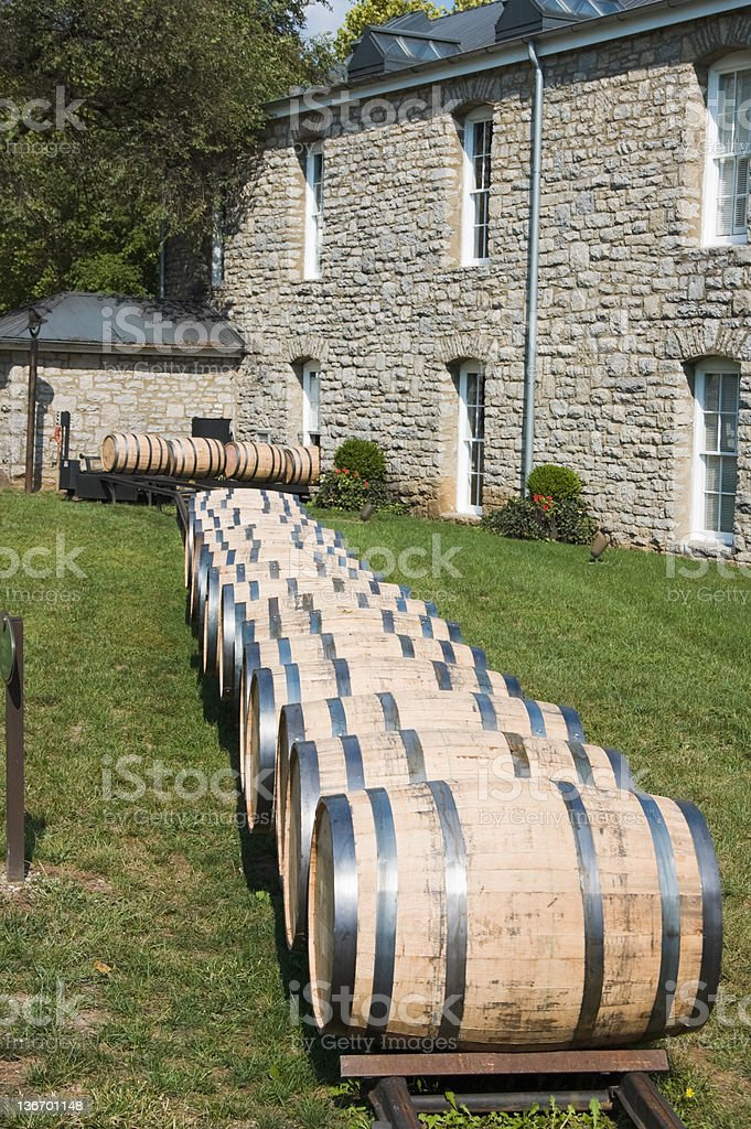 Barrels for Whiskey at a Distillery in Kentucky, USA royalty-free stock photo