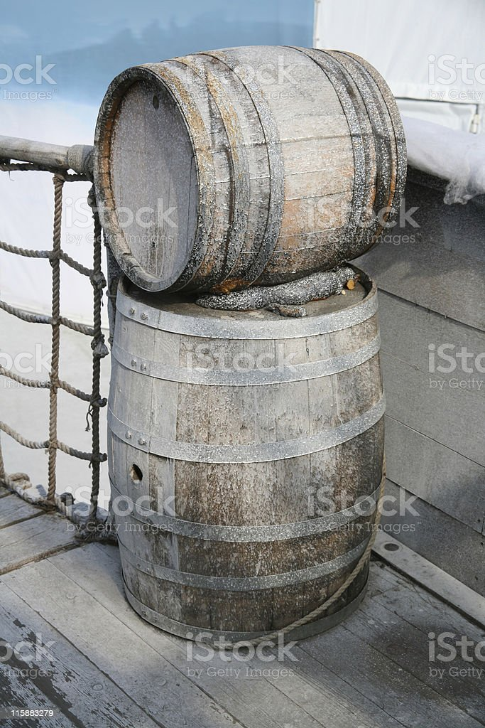 Barrels in ancient ship royalty-free stock photo