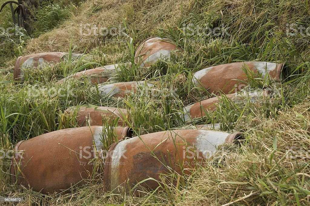 Barrels in the grass, Faroe Islands royalty-free stock photo