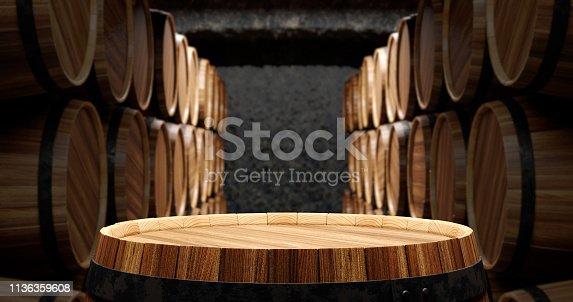 istock Barrels in the wine cellar 1136359608