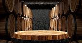 Concept of barrels in the wine cellar 3d illustration