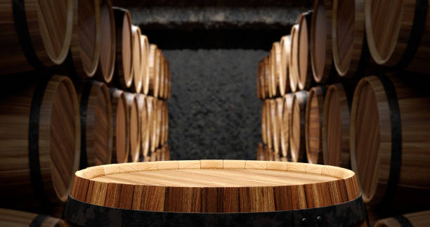 Barrels in the wine cellar Concept of barrels in the wine cellar 3d illustration cellar stock pictures, royalty-free photos & images