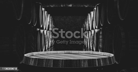 istock Barrels in the wine cellar 1136359618