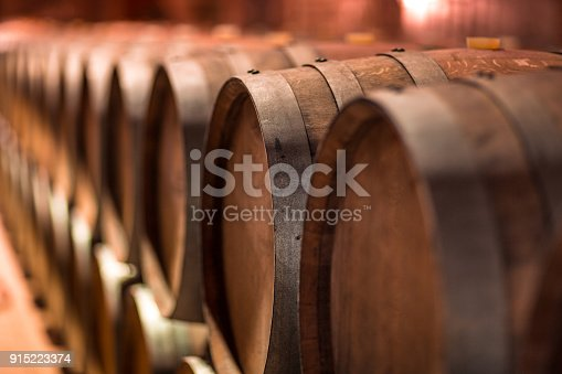 Wooden Barrels in Wine Cellar