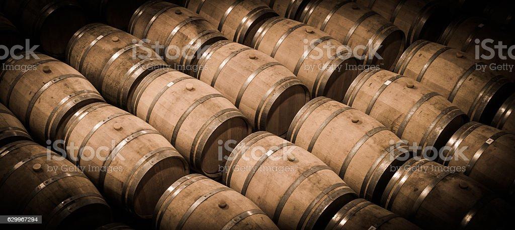 Barrels in Wine Cellar-Bordeaux Wineyard stock photo