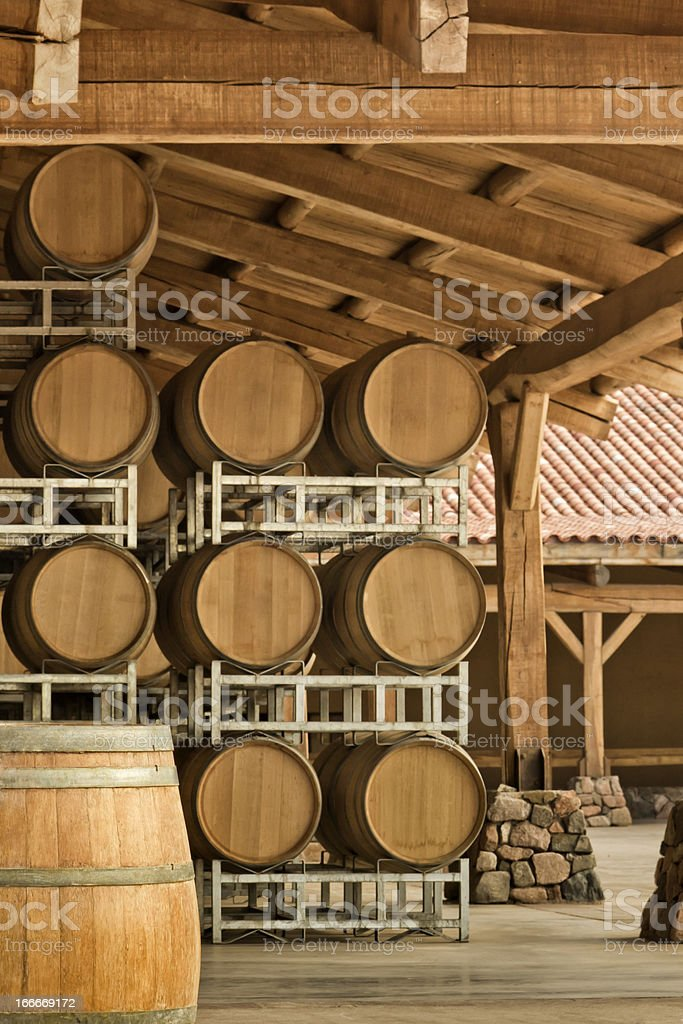 Barrels in winery royalty-free stock photo