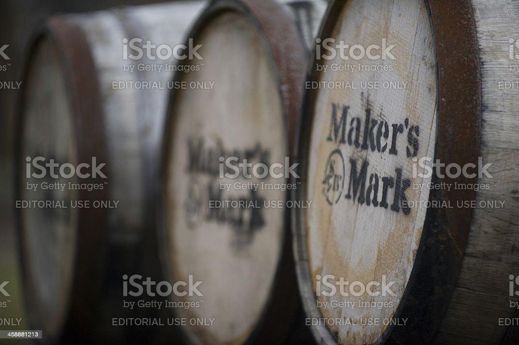 Barrels of Maker's Mark Whiskey in Kentucky stock photo