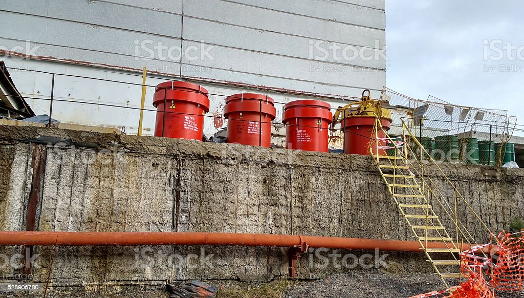 barrels of nuclear waste at the Chernobyl nuclear power station stock photo